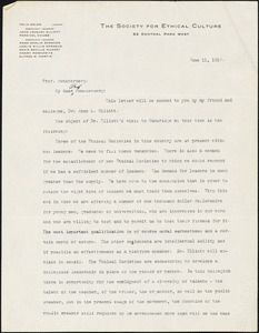 Adler, Felix, 1851-1933 typed letter signed to Hugo Münsterberg, New York, 11 June 1910