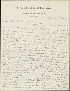 Adler, Herman M. (Herman Morris), 1876-1935 autograph letter signed to Hugo Münsterberg, New York, 28 April 1915