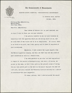 Adler, Herman M. (Herman Morris), 1876-1935 typed letter signed to Hugo Münsterberg, New York, 19 October 1915