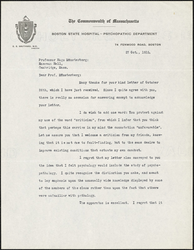 Adler, Herman M. (Herman Morris), 1876-1935 typed letter signed to Hugo Münsterberg, New York, 27 October 1915