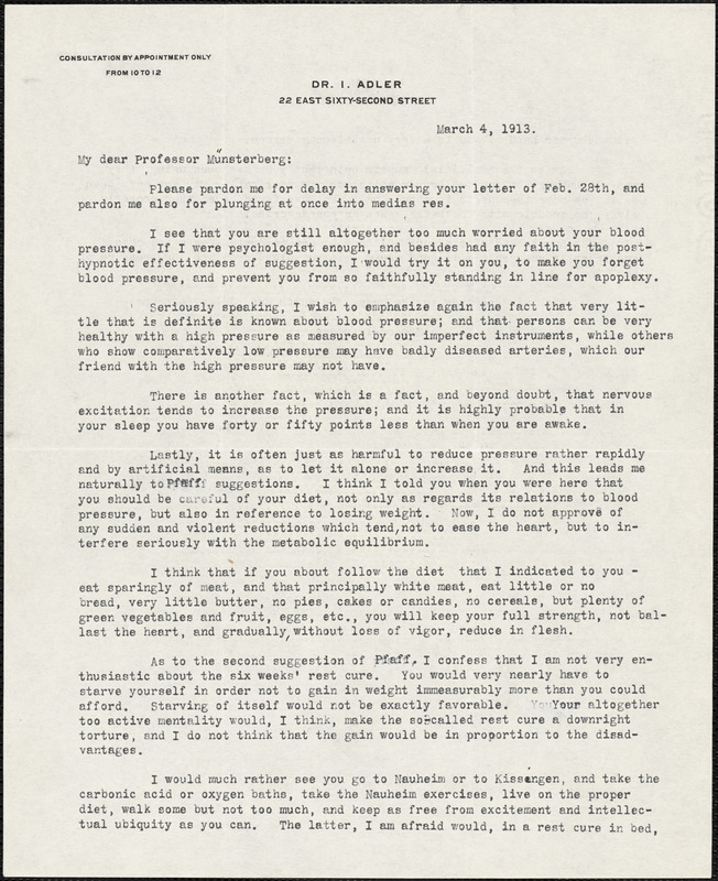 Adler, I. (Isaac), 1849-1918 typed letter signed to Hugo Münsterberg, New York, 04 March 1913