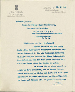 Adlon, Louis typed letter signed to Hugo Münsterberg, Berlin, 03 November 1910