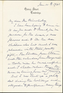 Agassiz, Elizabeth Cabot Cary, 1822-1907 autograph letter signed to Selma (Oppler) Münsterberg, 10 January 1901