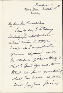 Agassiz, Elizabeth Cabot Cary, 1822-1907 autograph letter signed to Selma (Oppler) Münsterberg, 16 March 1902