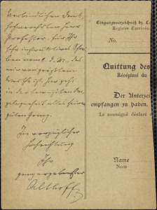 Althoff, Friedrich, 1839-1908 autograph note signed to Hugo Münsterberg