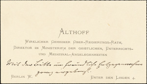 Athoff, Friedrich, 1839-1908 autograph printed card to Hugo Münsterberg, [Germany], May 1905