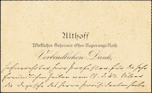 Althoff, Friedrich, 1839-1905. autograph printed card signed to Hugo Münsterberg, 29 June 1905