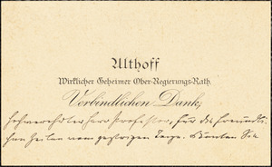 Althoff, Friedrich, 1839-1905. autograph printed card signed to Hugo Münsterberg, 3 July 1905