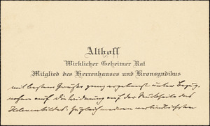 Althoff, Friedrich, 1839-1905. autograph printed card signed to Hugo Münsterberg, 31 July 1908