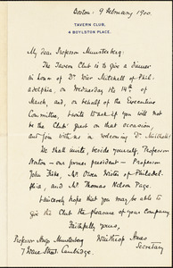 Ames, Winthrop, 1870-1937 autograph letter signed to Hugo Münsterberg, Boston, 09 February 1900