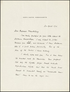 Ames, Winthrop, 1870-1937 autograph letter signed to Hugo Münsterberg, North Easton, Mass., 20 April 1916