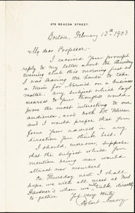 Amory, Robert, 1842-1910 autograph letter signed to Hugo Münsterberg, Boston, 13 February 1903