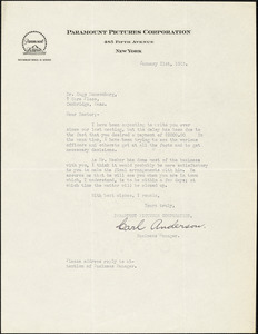 Anderson, Carl, fl.1915. typed letter signed to Hugo Münsterberg, New York, 21 January 1915