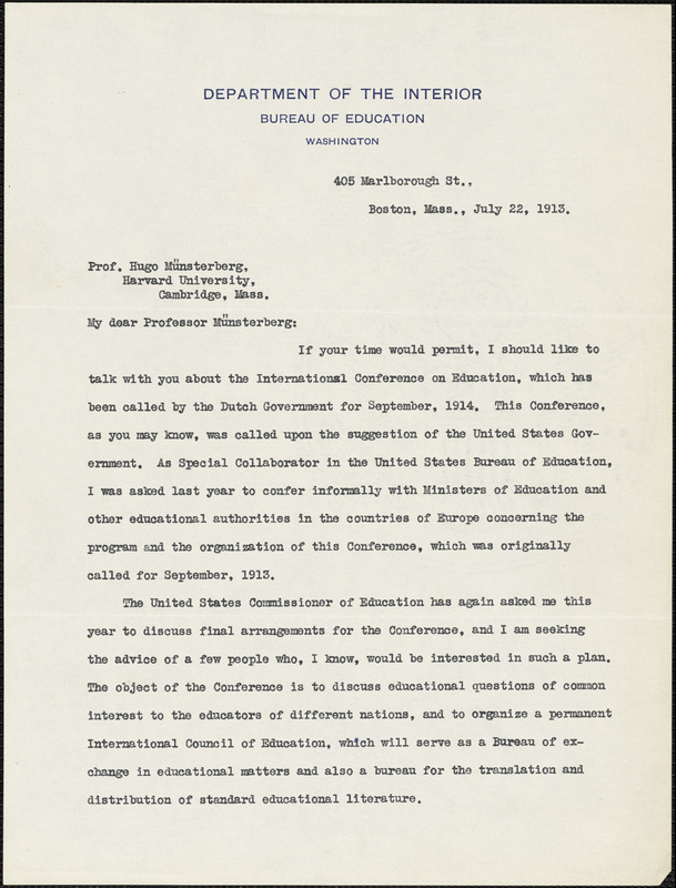 Andrews, Fannie Fern, 1867-1950 typed letter signed to Hugo Münsterberg, Boston, 22 July 1913