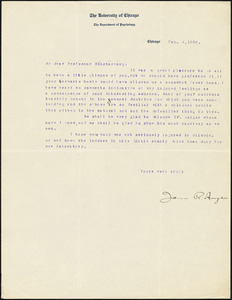 Angell, James Rowland, 1869-1949 typed letter signed to Hugo Münsterberg, Chicago, 04 February 1908