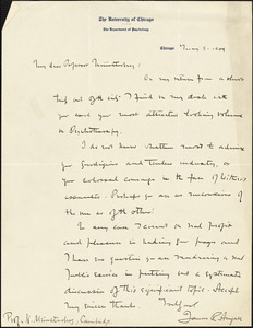 Angell, James Rowland, 1869-1949 autograph letter signed to Hugo Münsterberg, Chicago, 09 May 1909