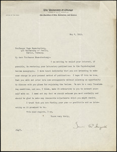 Angell, James Rowland, 1869-1949 typed letter signed to Hugo Münsterberg, Chicago, 04 May 1911