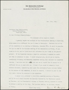 Angell, James Rowland, 1869-1949 typed letter signed to Hugo Münsterberg, Chicago, 15 December 1911