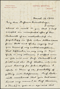 Angier, Roswell Parker, 1874-1946 autograph letter signed to Hugo Münsterberg, Bozen, 31 March 1906