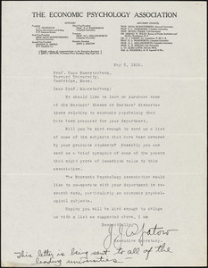 Apatow, John. J., [The Economic Psychology Association], typed letter signed to Hugo Münsterberg, Brooklyn, N.Y., 05 May 1916