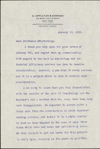 Appleton, William Worthen, 1845-1924 typed letter signed to Hugo Münsterberg, New York, 18 January 1913
