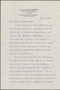 Appleton, William Worthen, 1845-1924 typed letter signed to Hugo Münsterberg, New York, 03 May 1913