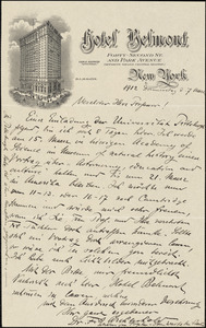 Archenhold, F. S. (Friedrich Simon) autograph letter signed to Hugo Münsterberg, New York, 07 March 1912