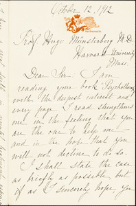 Armellini, Mrs. Louise, fl.1912. autograph letter signed to Hugo Münsterberg, Hot Springs, Va., 12 October 1912