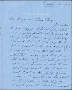 Bacon, Josephine Daskam, 1876-1961 autograph letter signed to Hugo Münsterberg, Pleasantville, N.Y., 16 November 1909