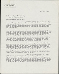 Baird, John Wallace, 1869-1919 typed letter signed to Hugo Münsterberg, Worcester, Mass., 25 May 1916