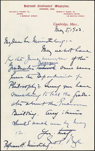 Baker, George Pierce, 1866-1935 autograph letter signed to Hugo Münsterberg, Cambridge, Mass., 05 May 1903