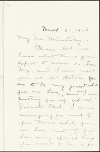 Bakewell, Charles M. (Charles Montague), 1867-1957 autograph letter signed to Hugo Münsterberg, New Haven Conn., 20 March 1906