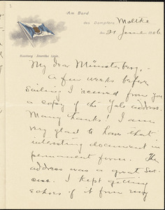 Bakewell, Charles M. (Charles Montague), 1867-1957 autograph letter signed to Hugo Münsterberg, S.S. Moltke, 21 June 1906