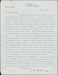 Bakewell, Charles M. (Charles Montague), 1867-1957 typed letter signed to Hugo Münsterberg, New Haven Conn., 02 February 1907