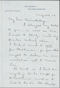 Bakewell, Charles M. (Charles Montague), 1867-1957 autograph letter signed to Hugo Münsterberg, New Haven Conn., 26 May 1908