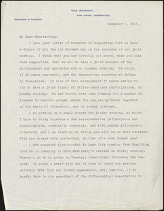 Bakewell, Charles M. (Charles Montague), 1867-1957 typed letter signed to Hugo Münsterberg, New Haven Conn., 01 December 1913