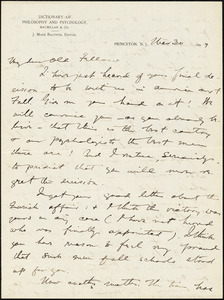 Baldwin, James Mark, 1861-1934 autograph letter signed to Hugo Münsterberg, Princeton, N.J., 30 March 1897