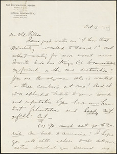 Baldwin, James Mark, 1861-1934 autograph letter signed to Hugo Münsterberg, Princeton, N.J., 15 October 1897?