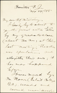Baldwin, James Mark, 1861-1934 autograph letter signed to Hugo Münsterberg, Princeton, N.J., 24 November 1898