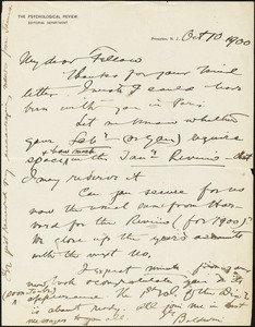 Baldwin, James Mark, 1861-1934 autograph letter signed to Hugo Münsterberg, Princeton, N.J., 10 October 1900