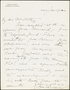 Baldwin, James Mark, 1861-1934 autograph letter signed to Hugo Münsterberg, Princeton, N.J., 17 January 1902