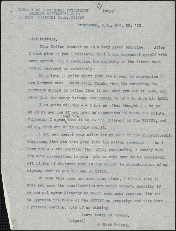 Baldwin, James Mark, 1861-1934 typed letter (copy) to J.Mc. K. Cattell, Princeton, N.J., 28 November 1903