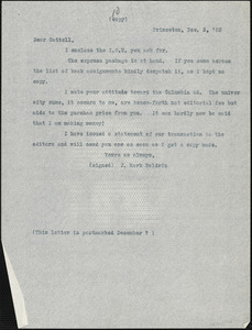 Baldwin, James Mark, 1861-1934 typed letter (copy) to J.Mc. K. Cattell, Princeton, N.J., 5 December 1903