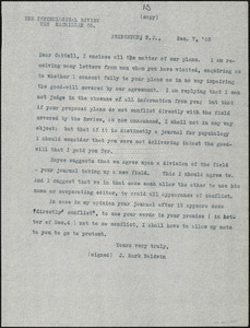 Baldwin, James Mark, 1861-1934 typed letter (copy) to J.Mc. K. Cattell, Princeton, N.J., 7 December 1903