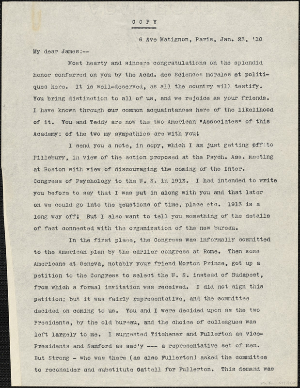 Baldwin, James Mark, 1861-1934 typed letter (copy) to [William James], Paris, 23 January 1910