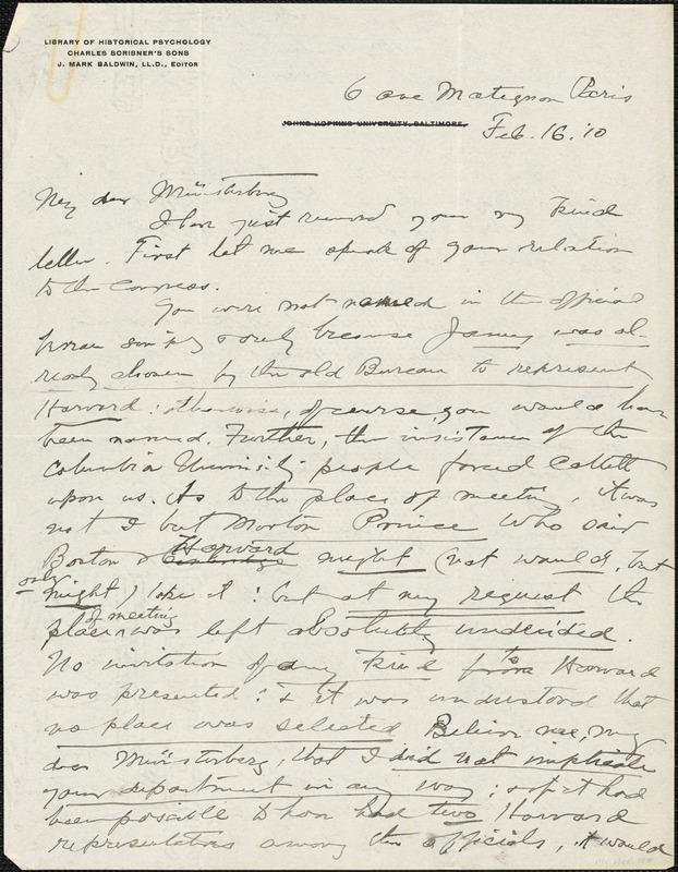 Baldwin, James Mark, 1861-1934 autograph letter signed to Hugo Münsterberg, Paris, 16 February 1910