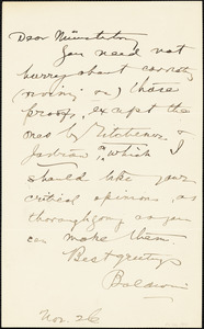 Baldwin, James Mark, 1861-1934 autograph note signed to Hugo Münsterberg, 26 November
