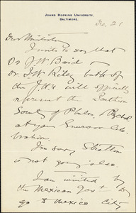 Baldwin, James Mark, 1861-1934 autograph letter signed to Hugo Münsterberg, Baltimore, 21 December