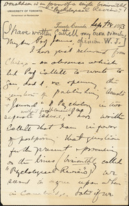 Baldwin, James Mark, 1861-1934 autograph letter signed to William James, Princeton, N.J., 18 September 1893