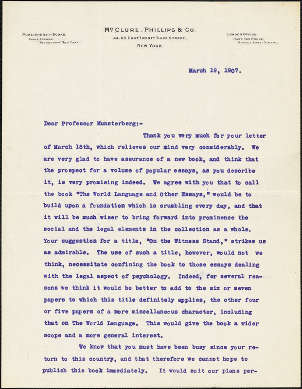 Bradley, W. A., fl. 1907 typed letter signed to Hugo Münsterberg, New York, 19 March 1907